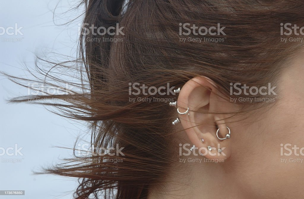 Ear Piercing stock photo