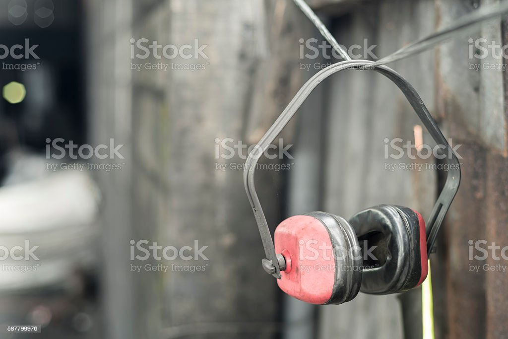 Ear portectors in the workshop stock photo