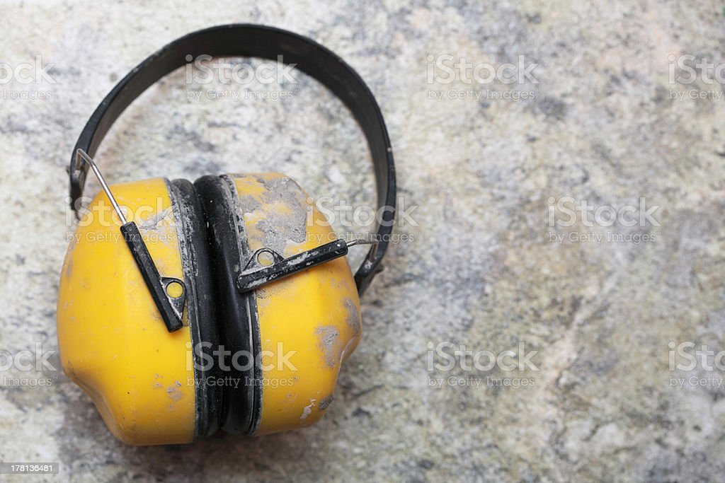 Ear protection factory noise muffs Yellow stock photo