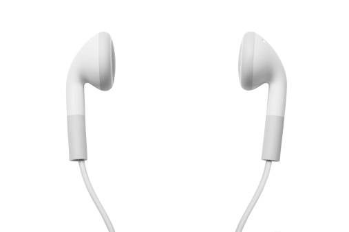 earbuds on white.