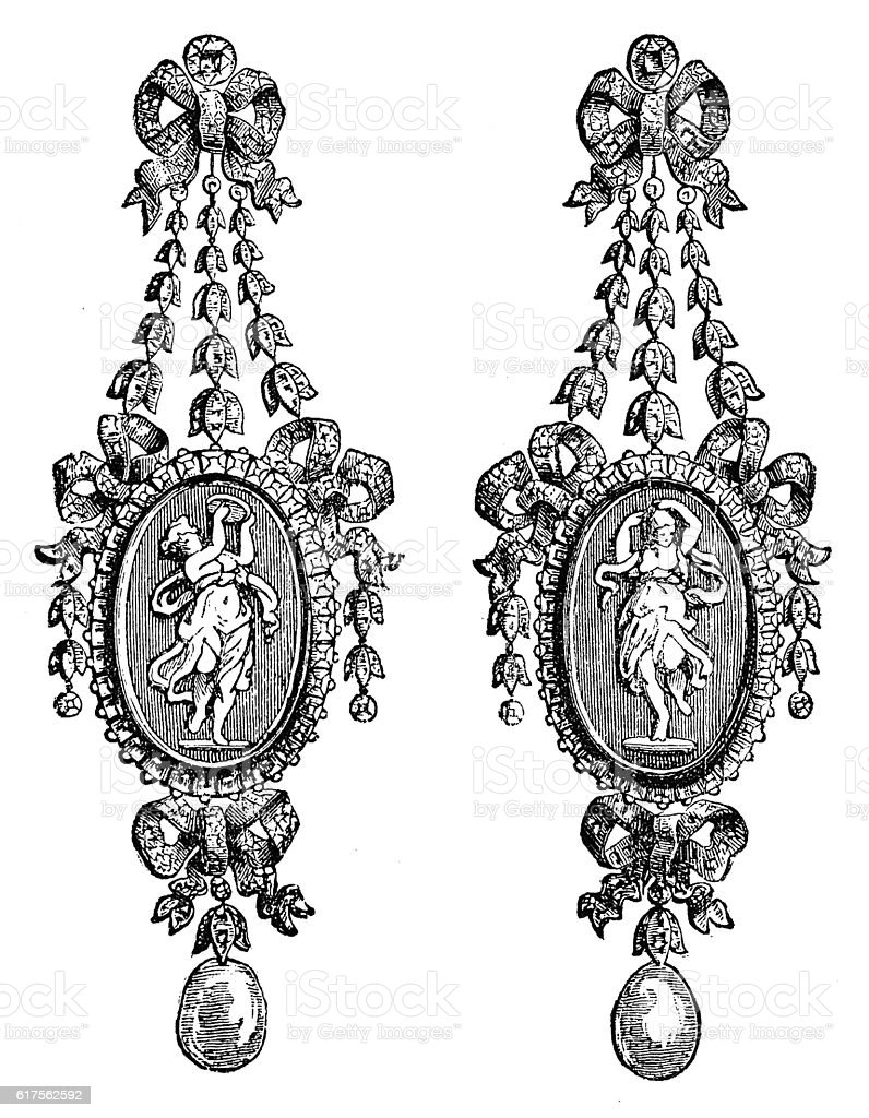 Earings - Parure (Louis XVI.), by Boucheron (antique engraving) stock photo