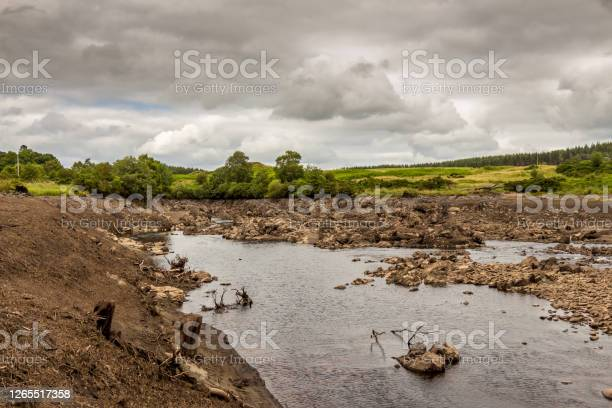 Photo of Earlstoun Loch and reservoir dewatered or drained, near Dalry, Scotland