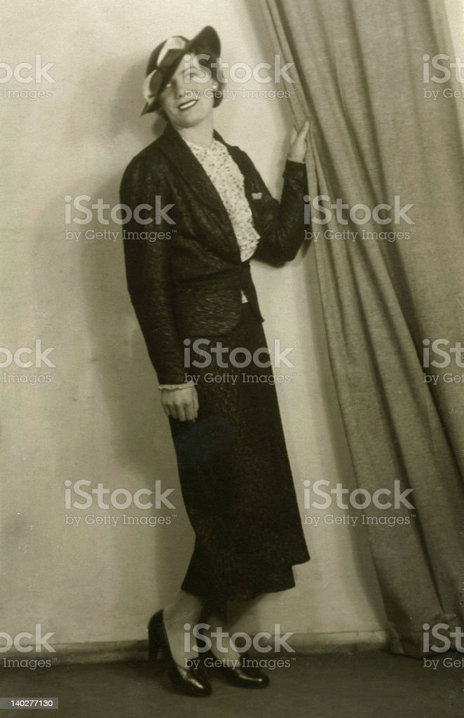 Early 1900's Vintage Photo of Posing Lady royalty-free stock photo