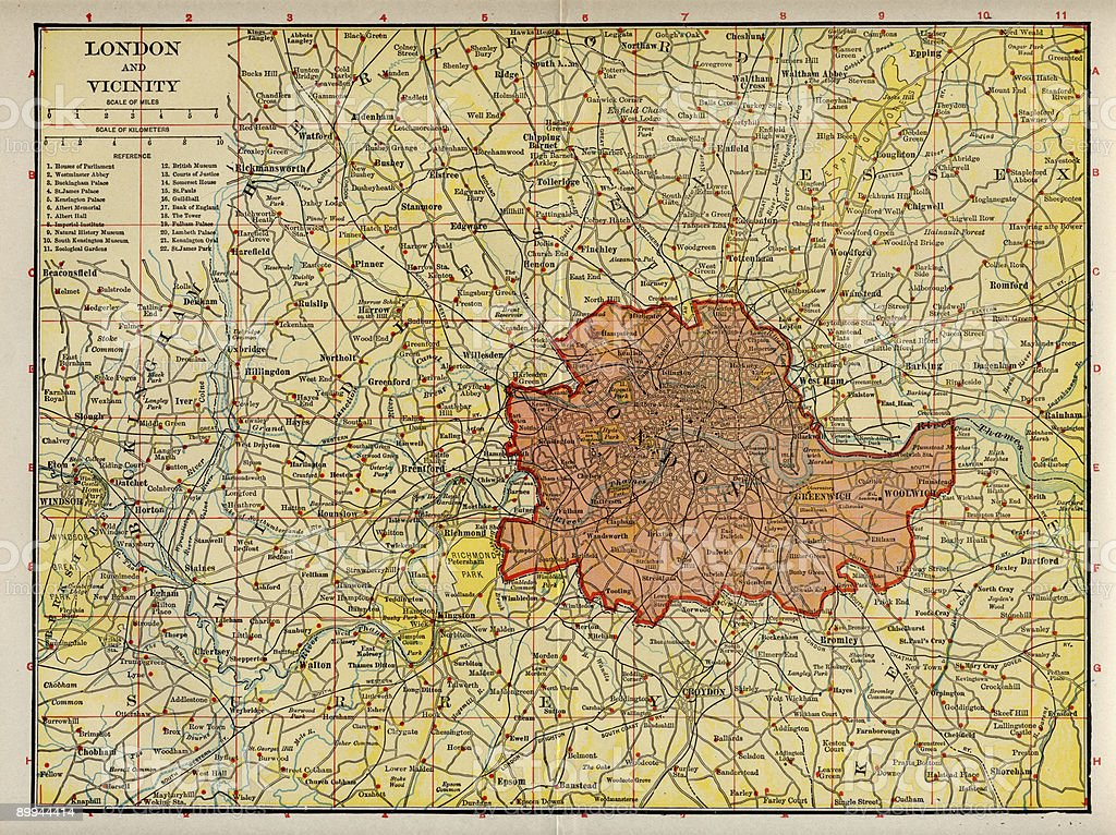Early 20th Century Map of London and Environs. stock photo
