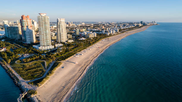 Early aerial view up South Beach stock photo