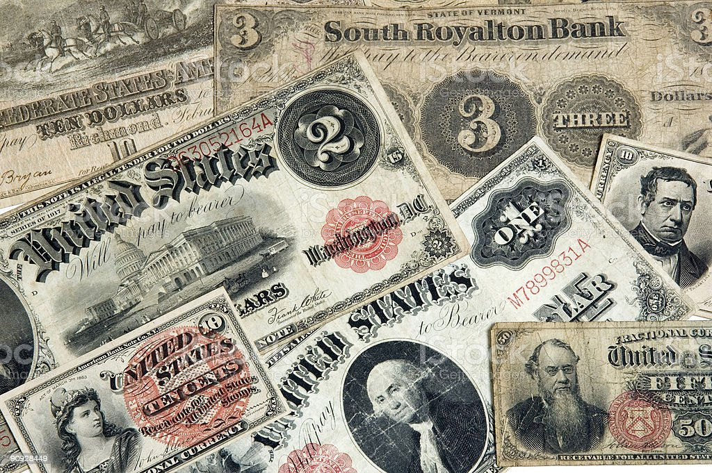 early American Currency stock photo