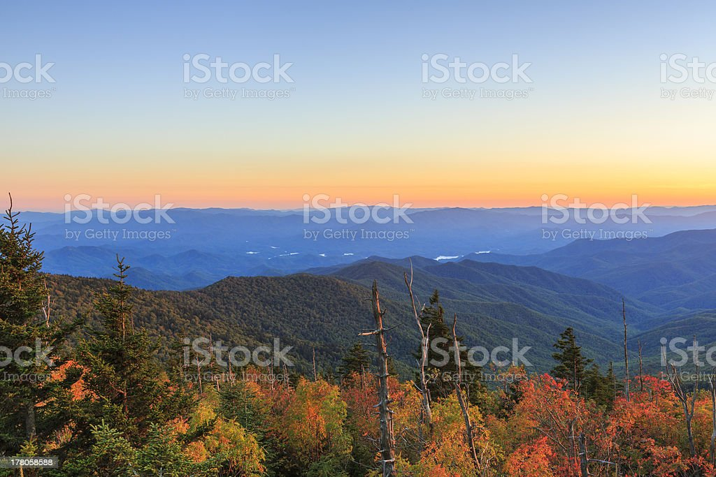 Early Autumn Day on Top Cingmans Dome stock photo