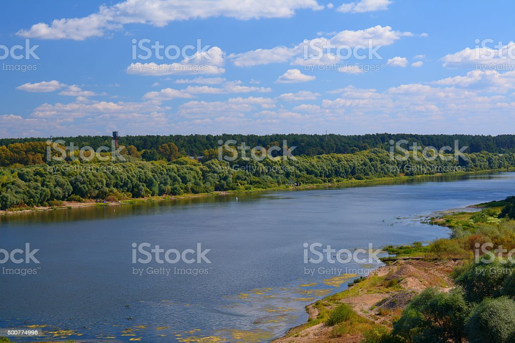 Early autumn on the banks of Oka river stock photo