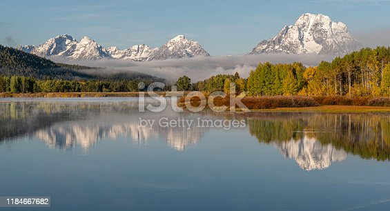 Early morning reflections on the placid Snake River of Mount Moran at Oxbow Bend