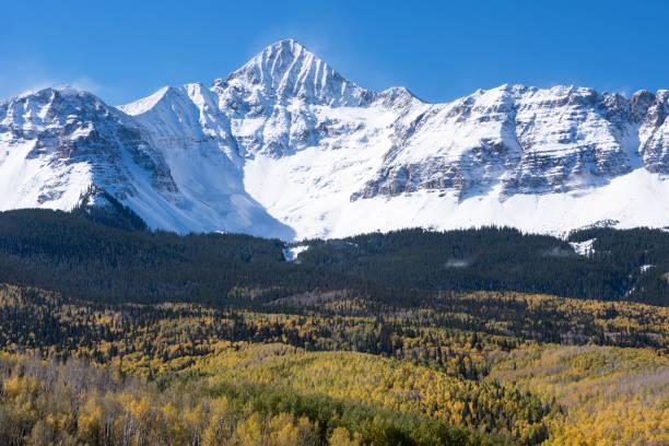 Early Autumn Snow Covered Wilson Peak in Southwestern Colorado. stock photo