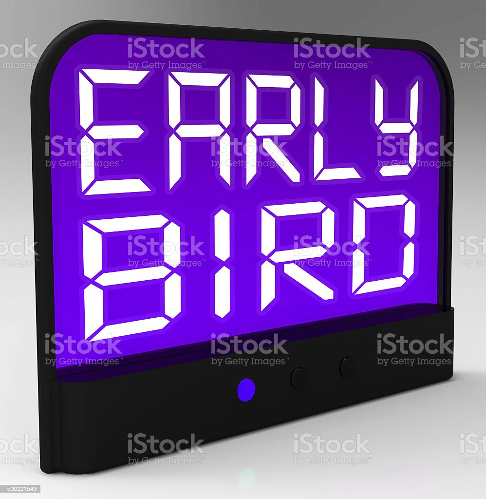 Early Bird Clock Shows Punctuality Or Ahead Of Schedule stock photo