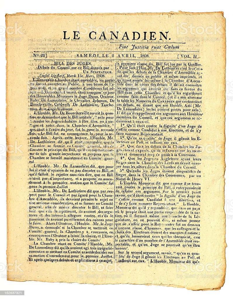 Early Canadian Newspaper. stock photo