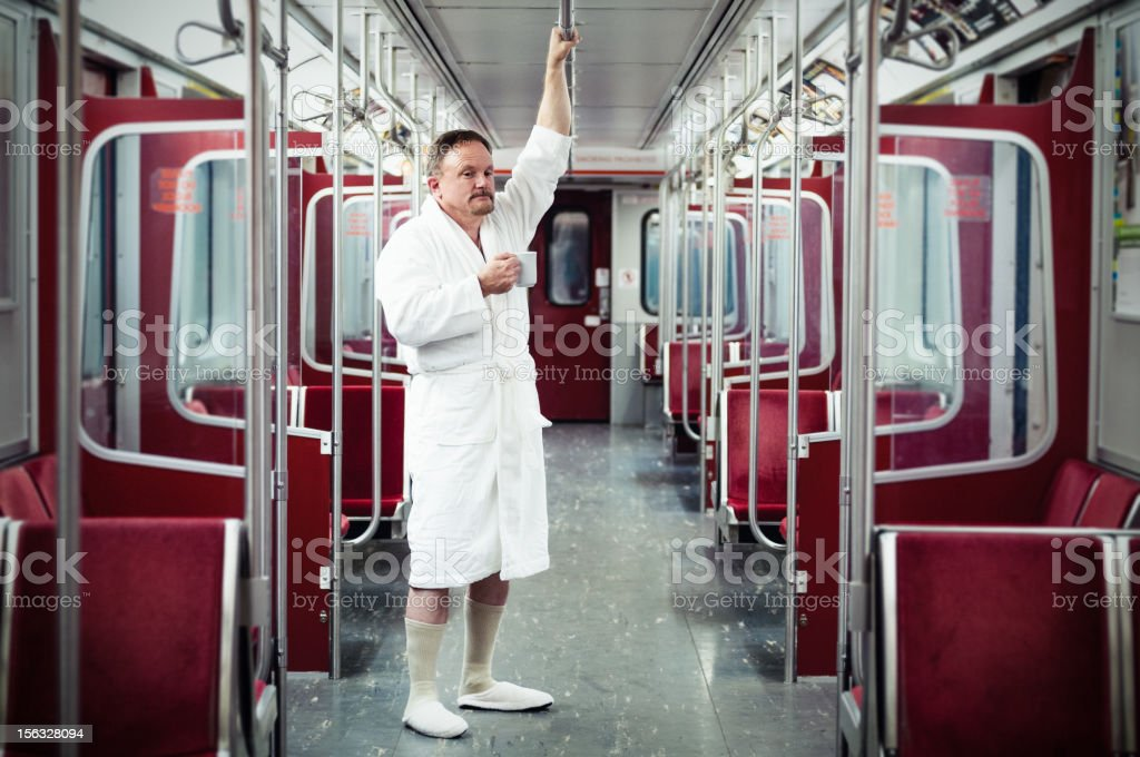 Early commuter on the train royalty-free stock photo