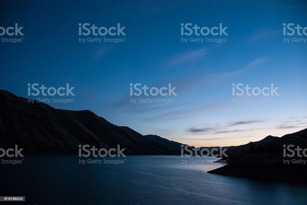 Early Dawn Breaking in the Heart of Hells Canyon stock photo