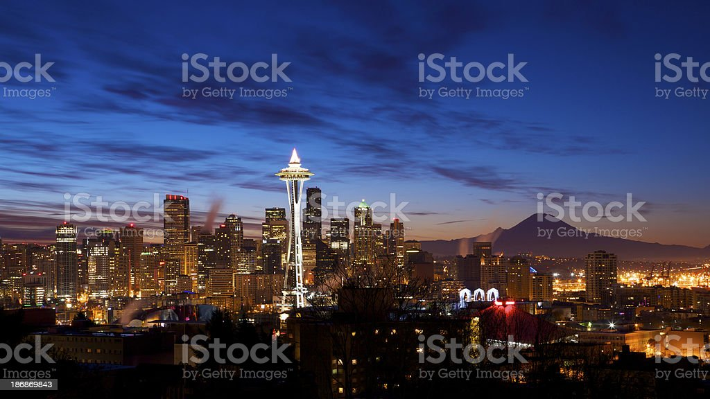Early Dawn in Seattle stock photo