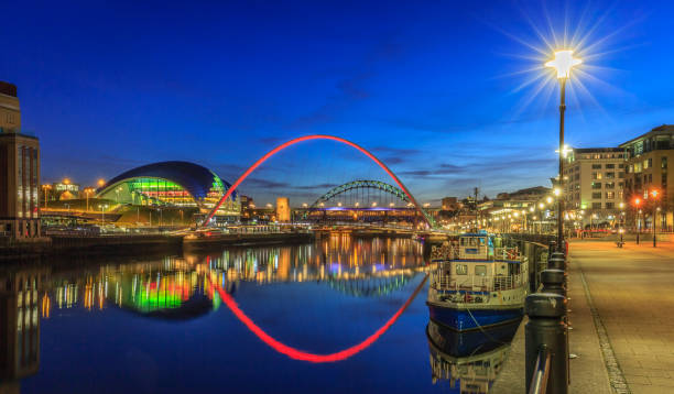 early evening on newcastle quayside - gateshead stock photos and pictures