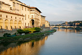 Quay of the Arno River and the Uffizi Gallery in Florence, Italy