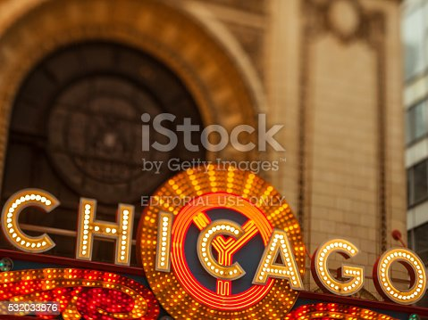 Chicago, USA - May 9, 2016: Early evening tilt-shift lens photo of the large sign at the Chicago Theatre. Located on State Street in downtown Chicago, this classic sign is recognized as a symbol of one of America's greatest cities.
