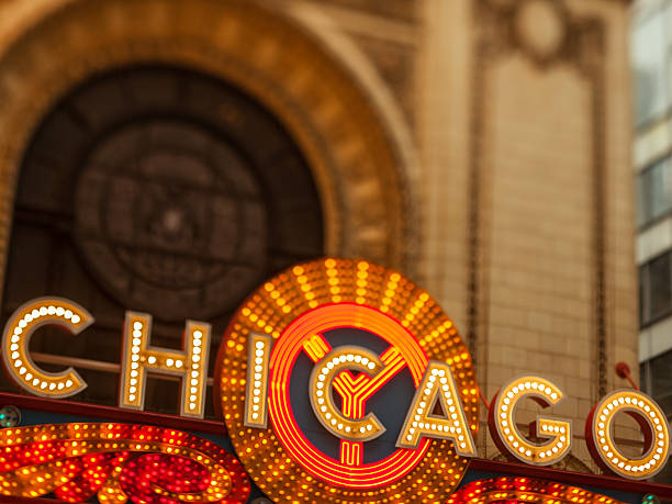 Early evening photo of the Chicago Theatre and sign Chicago, USA - May 9, 2016: Early evening tilt-shift lens photo of the large sign at the Chicago Theatre. Located on State Street in downtown Chicago, this classic sign is recognized as a symbol of one of America's greatest cities. theater marquee commercial sign stock pictures, royalty-free photos & images