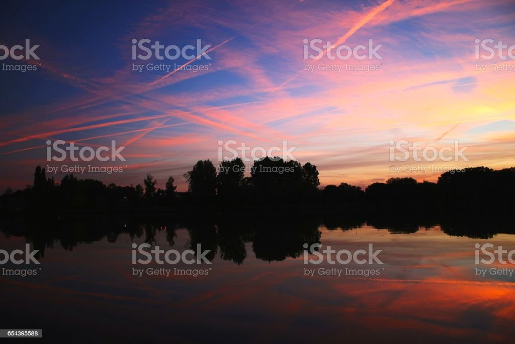 Early evening picturesque sunset on the Tarn river, Moissac,  France stock photo