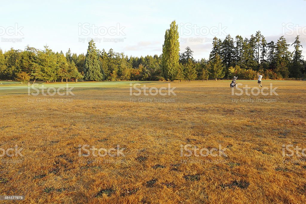 Early fall morning on the golf course stock photo