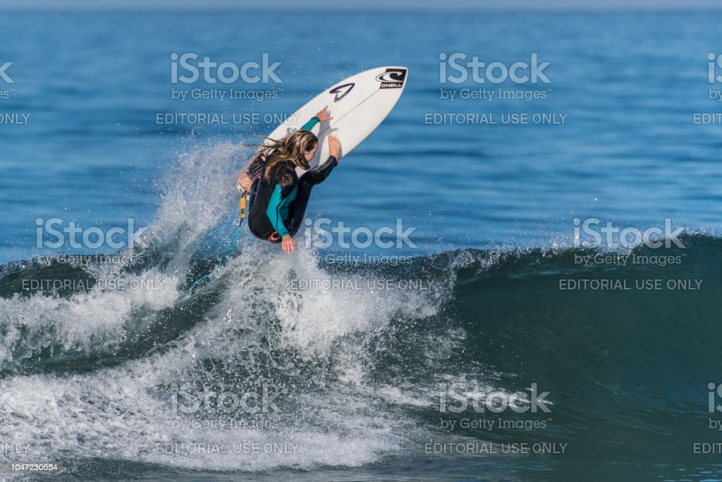 Early Fall south swell makes great launching pad. stock photo