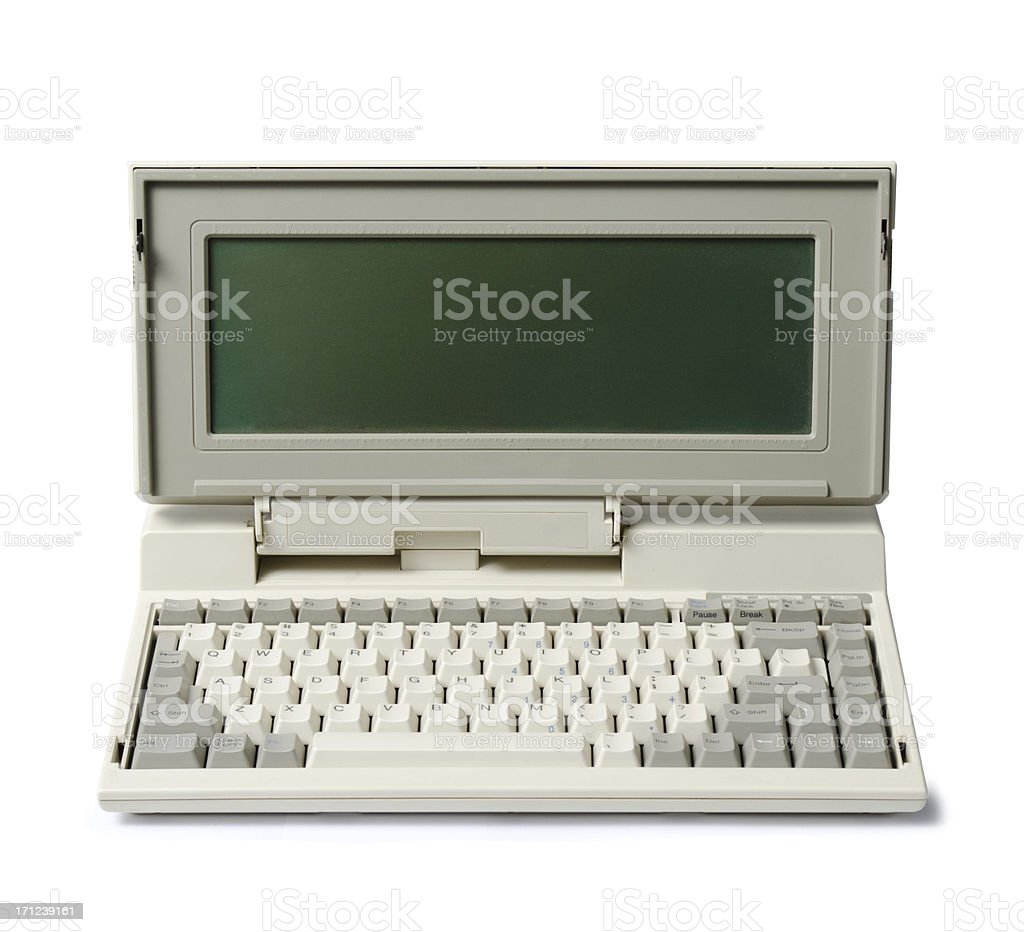 Early laptop computer with attached keyboard stock photo
