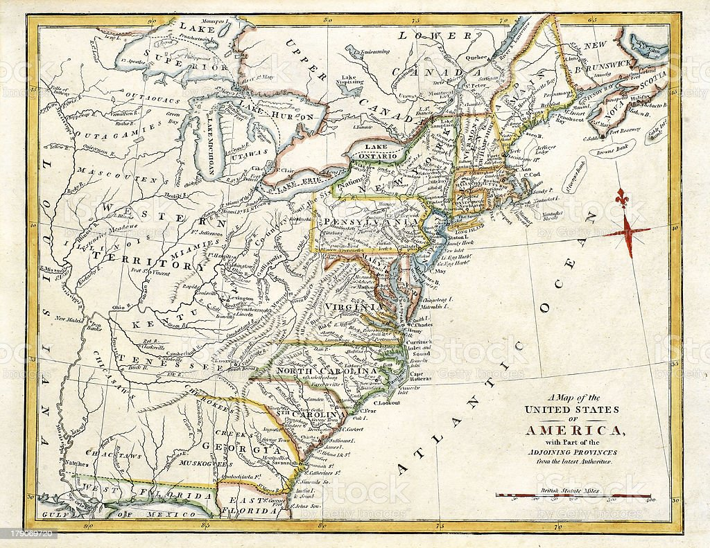 Early Map of American States stock photo