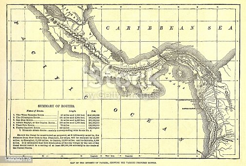 Old 1879 map of various possible Panama Canal Routes.