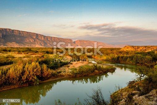 Early morning view along the Rio Grande looking towards Santa Elena Canyon. Big Bend National Park, Texas.