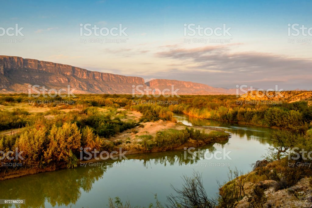 Early Morning Along the Rio Grande stock photo