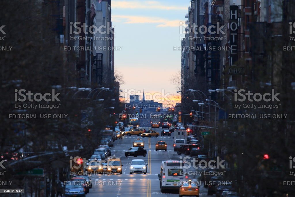 Early morning at 23nd St from High Line Park stock photo
