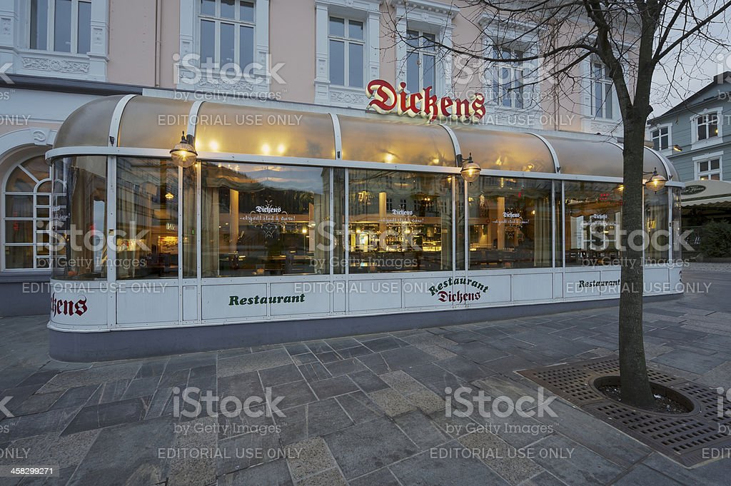 Early morning at Dickens Restaurant in Bergen, Norway royalty-free stock photo