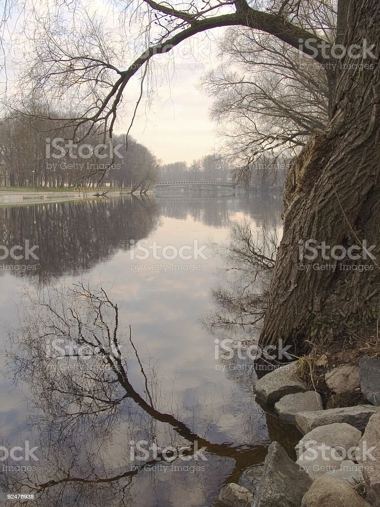 early morning at the river in tartu, estonia royalty-free stock photo