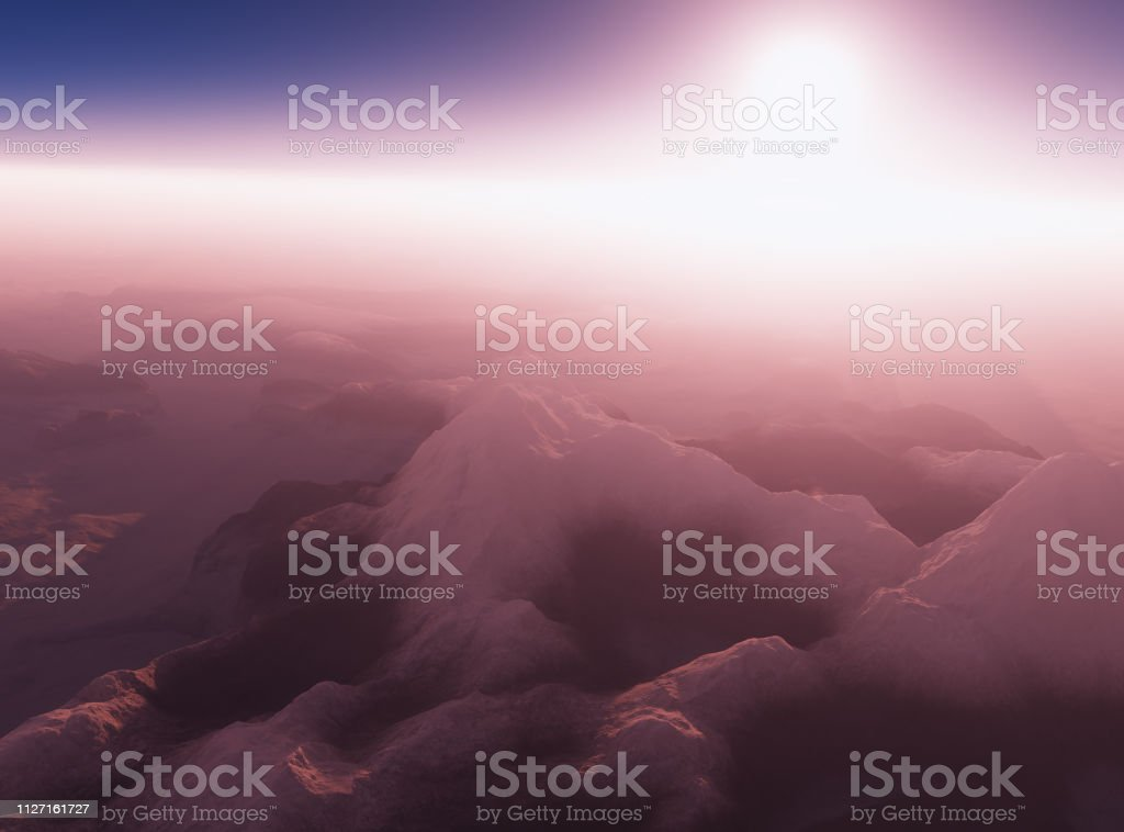 Early morning at winter mountain valley 3d rendering design element background stock photo