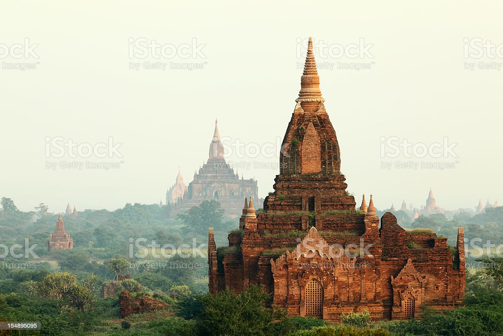 early morning Bagan temple field royalty-free stock photo