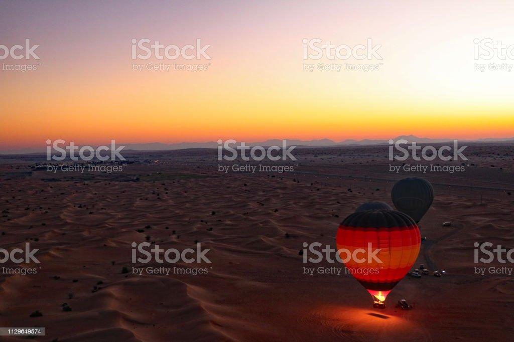 Early morning balloon ride in Dubai stock photo