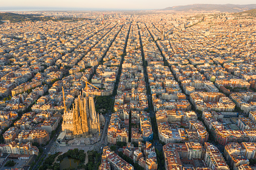Early morning Barcelona city view