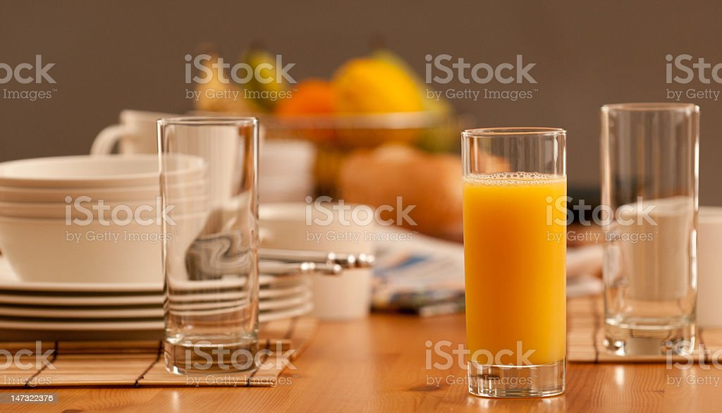 Early morning breakfast table stock photo