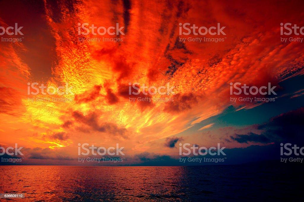 Early morning, burned sunrise over sea stock photo