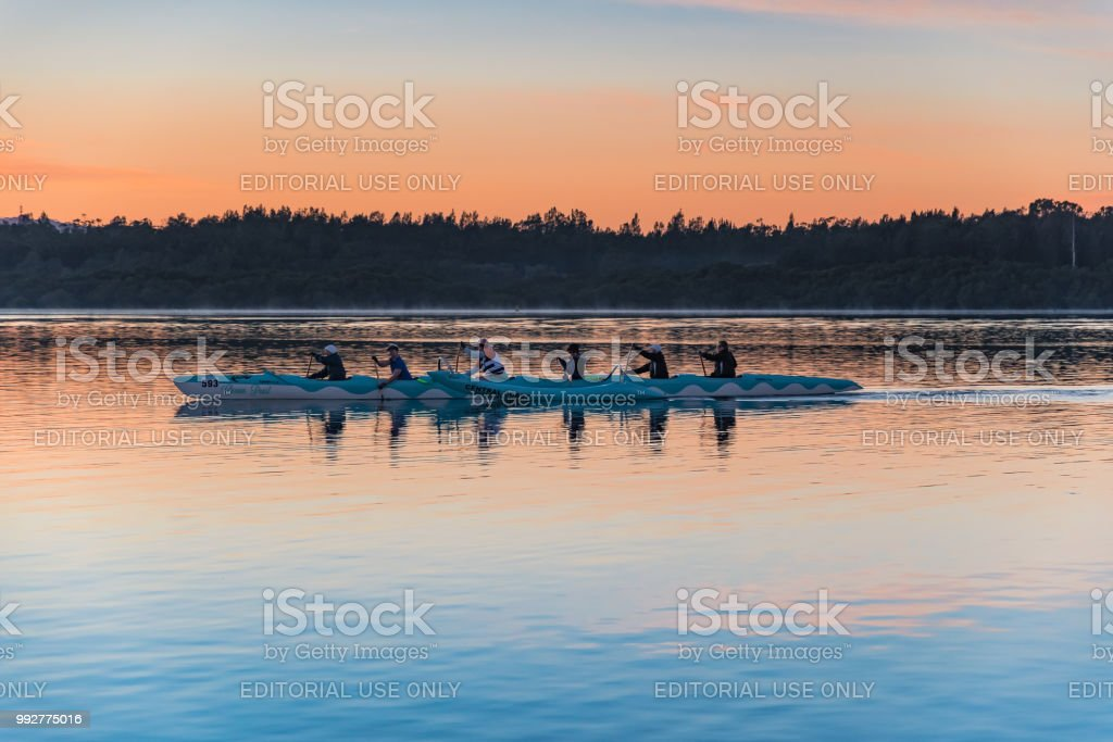 Early Morning Central Coast Paddlers in the Ocean Pearl stock photo