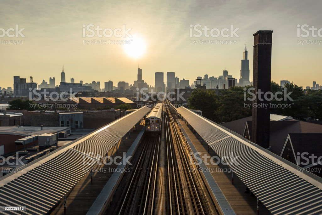 Early morning Chicago skyline stock photo