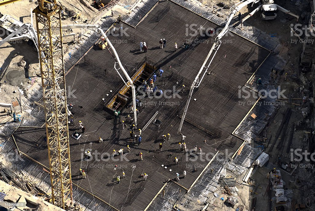 Early morning concrete pour royalty-free stock photo