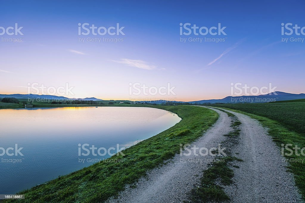 Early morning country road royalty-free stock photo