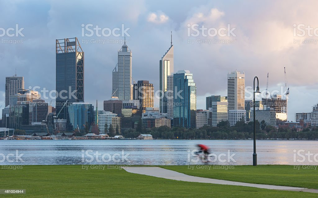 Early morning cyclist Perth City stock photo