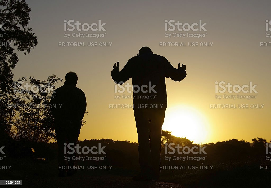 Early morning discussion royalty-free stock photo