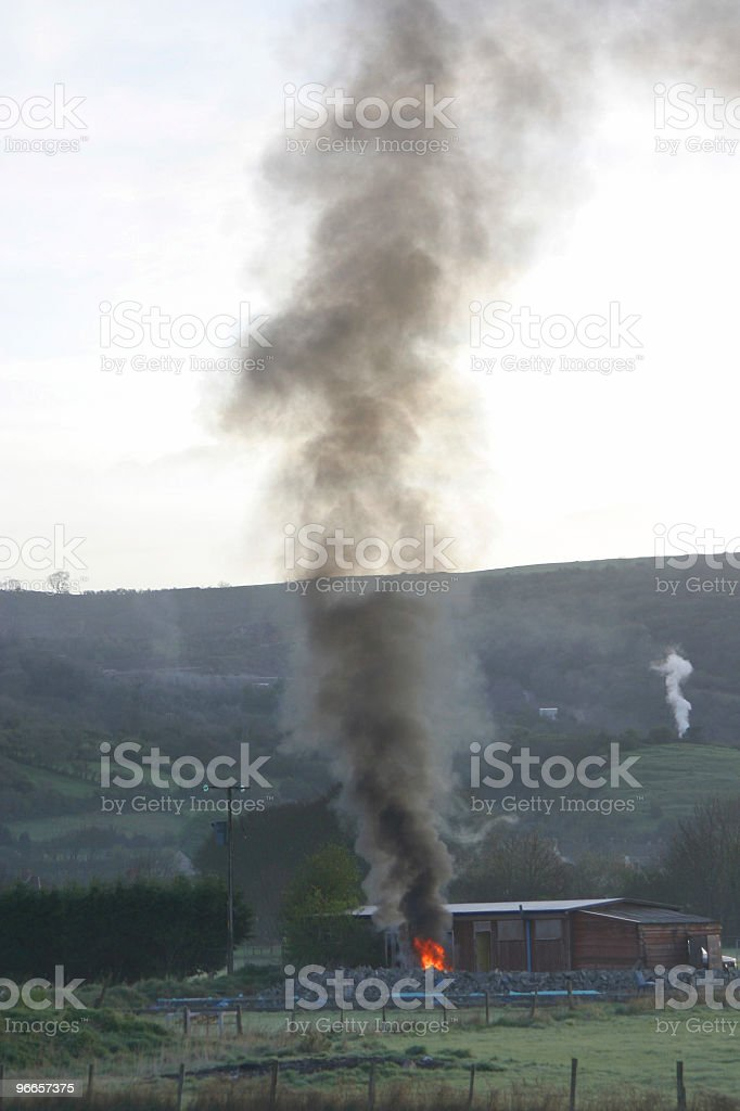 Early morning fire royalty-free stock photo