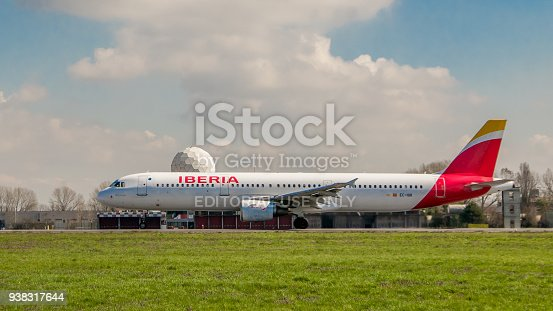 istock Early morning flight of Iberia airline aircraft departures at Milano Linate airport 938317644