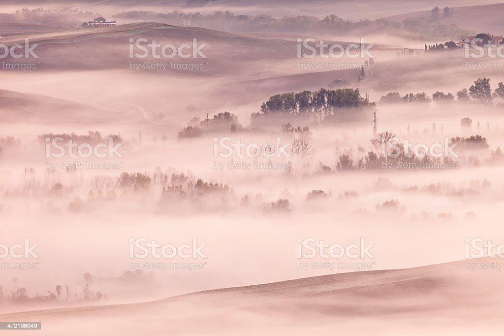 Early Morning Fog Across Rolling Landscape, Tuscany, Italy royalty-free stock photo