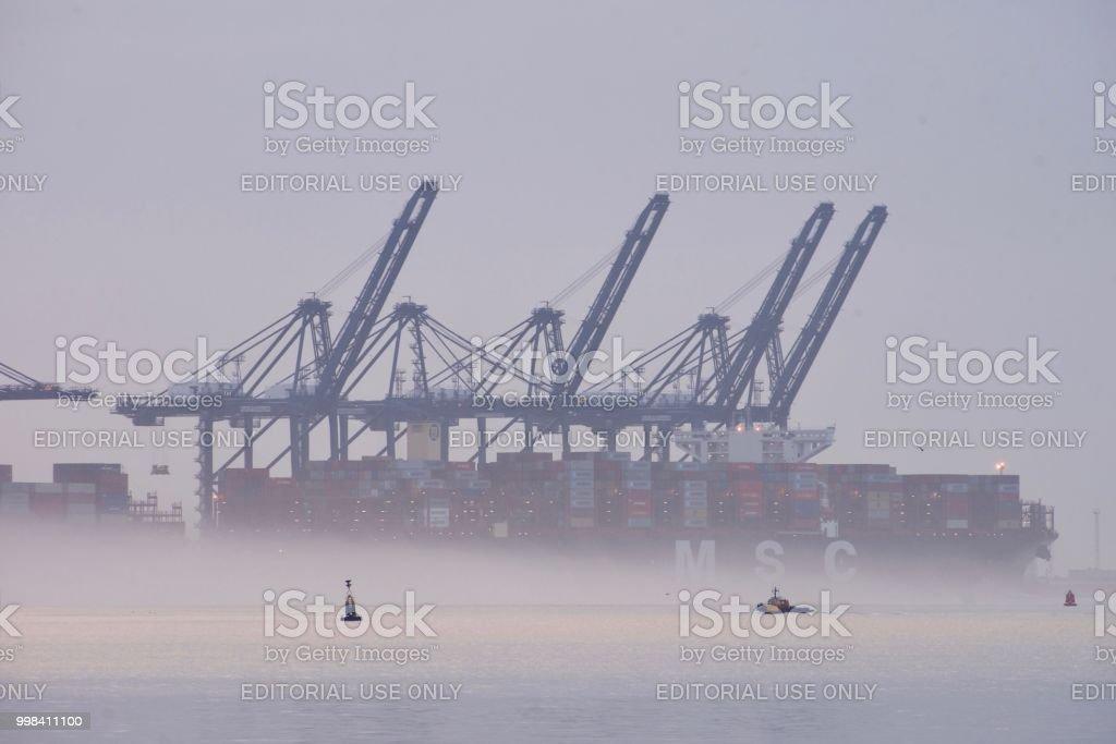 Early morning fog at Felixstowe stock photo